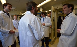 Kevin Rennert, Bob Simon, and other members of the US Senate Committee on Energy & Natural Resources visit the MIT PVLab.